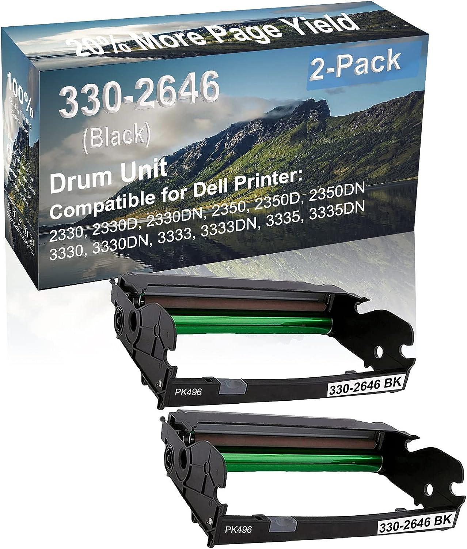 2-Pack (Black) Compatible 2350D, 2350DN, 3330, 3330DN Printer Drum Unit Replacement for Dell 330-2646 Drum Kit