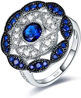 925 Sterling Silver Vintage Created Blue Sapphire Cluster Cocktail Ring for Women