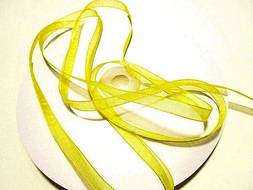 CaPiSo Cinta de organza 100 m x 6 mm, color amarillo claro