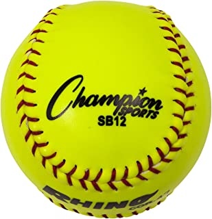 Champion Sports Optic Yellow Synthetic Leather Softballs - Pack of 12