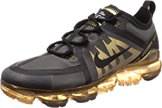 2c8951de806e0 Nike Men s Air Vapormax 2019 Black Black Metallic Gold Mesh Running Shoes 9  M