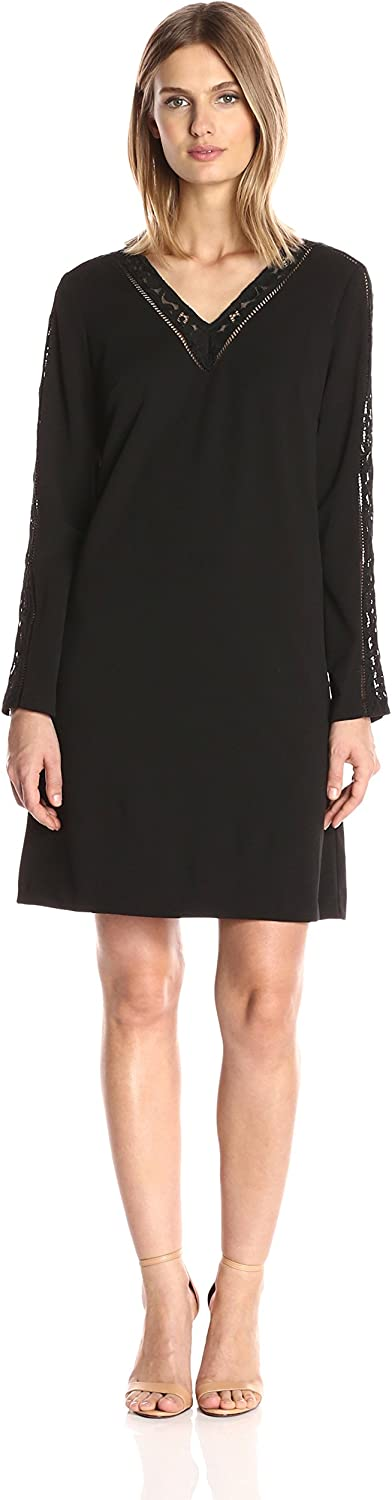 Julia Jordan Womens Long Sleeve Lace Inset Detail Shift Stretch Crepe with Pockets Dress