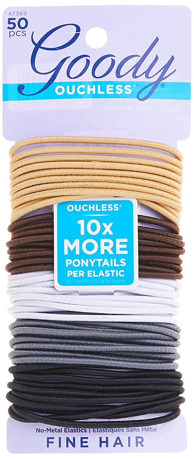 Goody Ouchless Womens Elastic Hair Tie - 50 Count, Neutral - 2MM