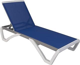 Kozyard Alan Full Flat Alumium and Polypropylene Resin Legs Patio Reclinging Adustable Chaise Lounge with Sunbathing Textilence, 5 Adjustable Position (Blue Textilence W/O Table)