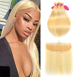 613 Platinum Blonde Bundles with Frontal Brazilian Straight Human Hair Bundles with Pre Plucked Frontal Lace Human Hair wi...