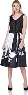 Women's White Floral Print Fit and Flare Dress