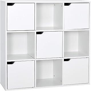 Meerveil Étagère de Rangement 9 Cubes Bibliothèque en Bois Armoire de Rangement, Inclus 4 Cubes Ouvertes et 5 Cubes avec P...