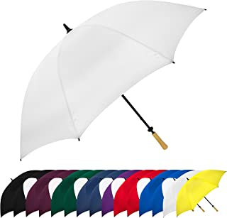 StrombergBrand Large Golf Windproof Umbrella 62 Arc Size for Men & Women – Rain Protection Outdoor Umbrellas with Wooden H...