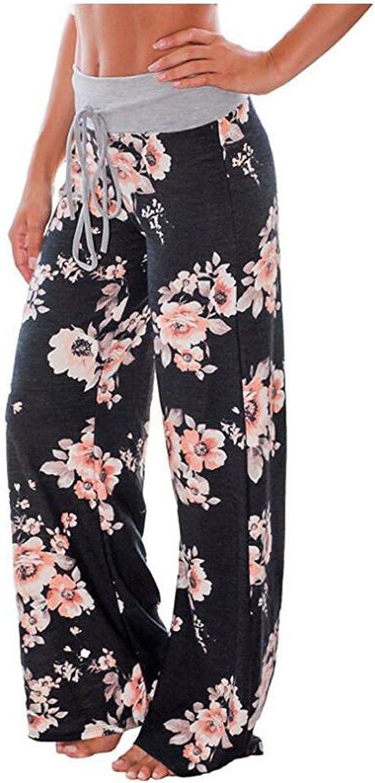 Aifer Women/'s Comfy Casual Pajama Pants Floral Print Stretchy Drawstring Wide Leg Lounge Pants