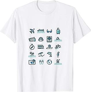 Icônes de voyage T-Shirt Graphique, cadeau de voyage T-Shirt