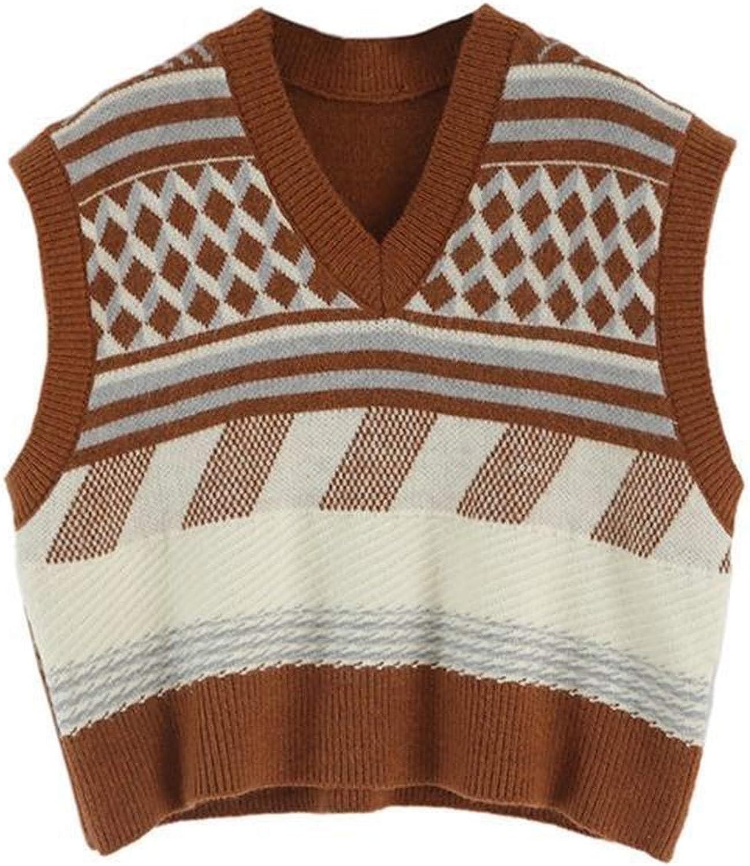 Sweater Vest Women V-Neck Autumn Teens Sleeveless Knitwear Soft Harajuku College Vintage Patchwork Chic
