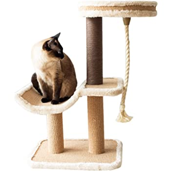 Catry Cat Tree Cradle Bed with Natural Sisal Scratching Posts and Teasing Rope for Kitten