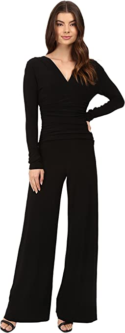 KAMALIKULTURE by Norma Kamali V-Neck Long Sleeve Shirred Waist Jumpsuit