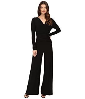 V-Neck Long Sleeve Shirred Waist Jumpsuit