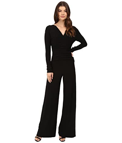 KAMALIKULTURE by Norma Kamali V-Neck Long Sleeve Shirred Waist Jumpsuit (Black) Women
