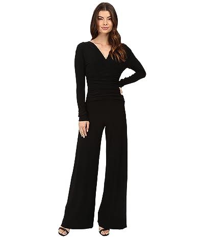 KAMALIKULTURE by Norma Kamali V-Neck Long Sleeve Shirred Waist Jumpsuit Women