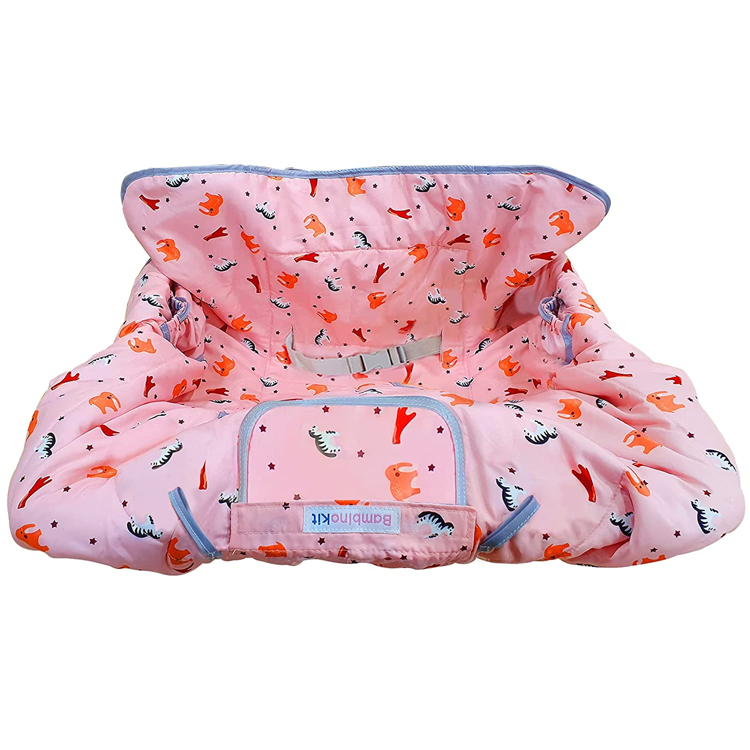 BambinoKit Shopping Cart & Highchair Cover for Baby Boys & Girls - Full Protection, Easy to Install & Carry, Machine Washable - Give Your Baby Soft Cushioned Comfort, Enjoy Easier Shopping!