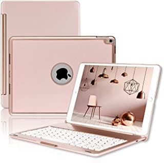 """ONHI Wireless Keyboard Case for iPad Air 2019 3rd Gen/iPad Pro 10.5"""" 2017 Aluminum Shell Smart Folio Case with 7 Colors Back-lit, Auto Sleep / Wake, Silent Typing (A1701/A1709)(10.5 Rose Gold)"""