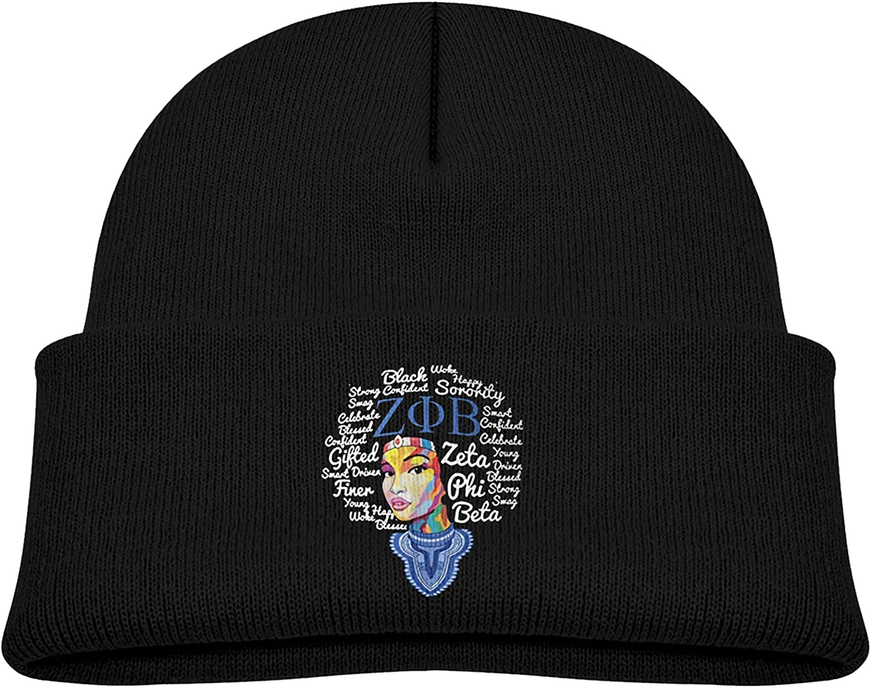 Zeta Phi Beta Child Kid Boy Girl Beanie Cap Winter Outdoor Slouchy Warm Hat Black