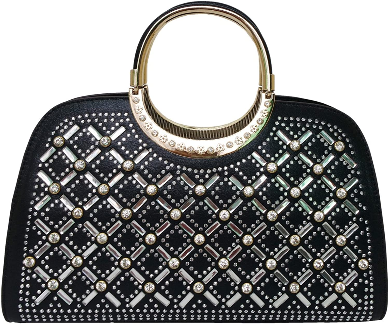 Satispac Women's Grid Pattern Rhinestones Circle Tote Handle Handbag