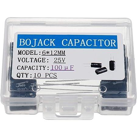 Bojack 100uf 25v 6x12mm Kondensatoren 100 Mfd 25 Volt 0 24x0 47 Zoll 20 Aluminium Elektrolyt Kondensatoren Packung Mit 10 Stück Gewerbe Industrie Wissenschaft