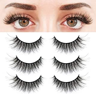 BEPHOLAN 3 Pairs False Eyelashes Synthetic Fiber Material, 3D Faux Mink Lashes, Cat Eyes Look, Reusable, 100% Handmade & Cruelty-Free, XMZ24