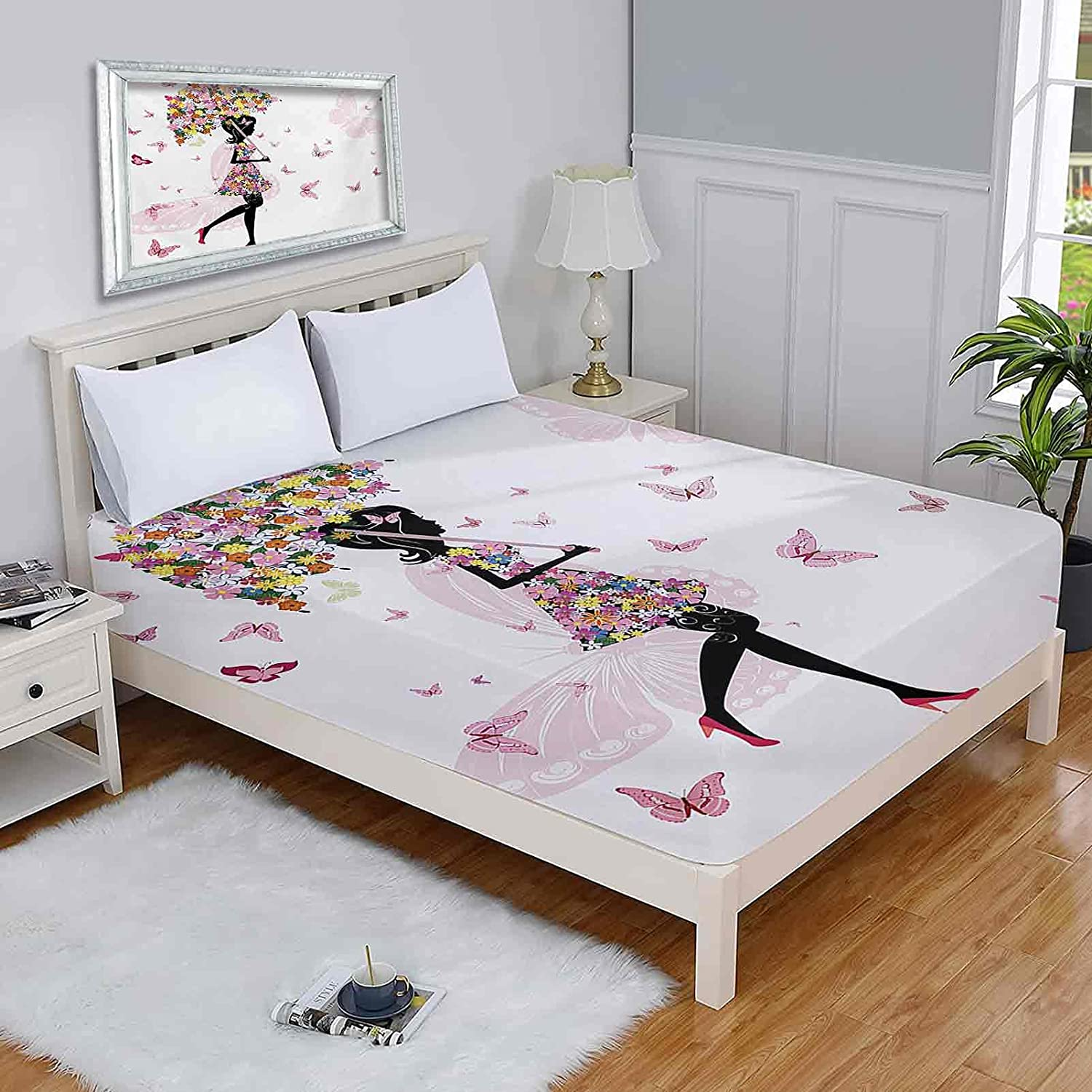 Girls Twin-XL Mattress free shipping Protectors Girl Umbrella and Floral with Surprise price