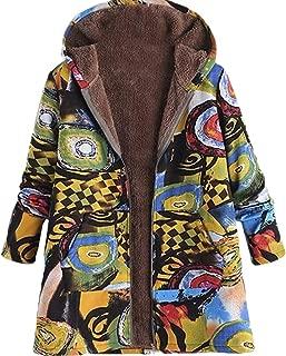 Women's Print Fleece Linen Outdoor Zip-Up Winter Hooded Down Jacket Coat