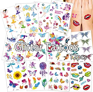 Anyingkai Set van 12 cartoon-tatoeages, tijdelijke tatoeages, kinderen, meisjes, tattoos, set, koffer, snowboard, iPhone (...