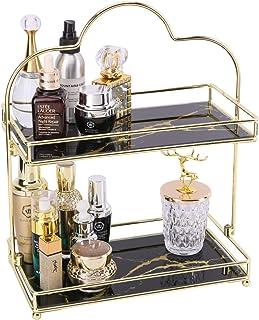 Z PLINRISE Makeup Organizer, 2 Tier Bathroom Cosmetic Storage Shelf for Dresser and Countertop, Decorative Wire Vanity Org...