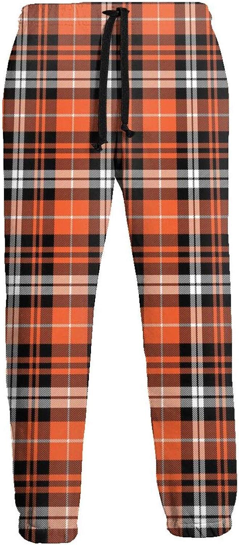 Mens Pumpkin Fall Cheap SALE Start Plaid Orange Sweatpants S Jogger Year-end gift Bottom Close