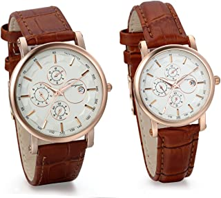 JewelryWe Classic Quartz Watches with Date Set for Couple with Brown Leather Band Anniversary Valentine Gifts (2pcs)