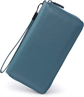 Women RFID Blocking Wallet Leather Zip Around Phone...