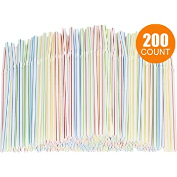 12 x Flexible Plastic Straws Bendy Coloured Birthday Party Drinking Unicorn
