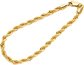 Gold Chain Bracelets for Women and Men [ 6mm Rope Chain ] -Up to 20X More 24k Real Gold Plating - Durable & Hypoallergenic 7-9 inches