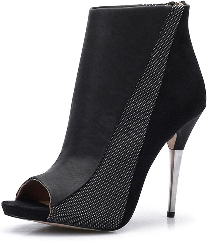 Verescha Women's Zipper Peep-Toe Stiletto High Heel Ankle Boot Platform Sandals