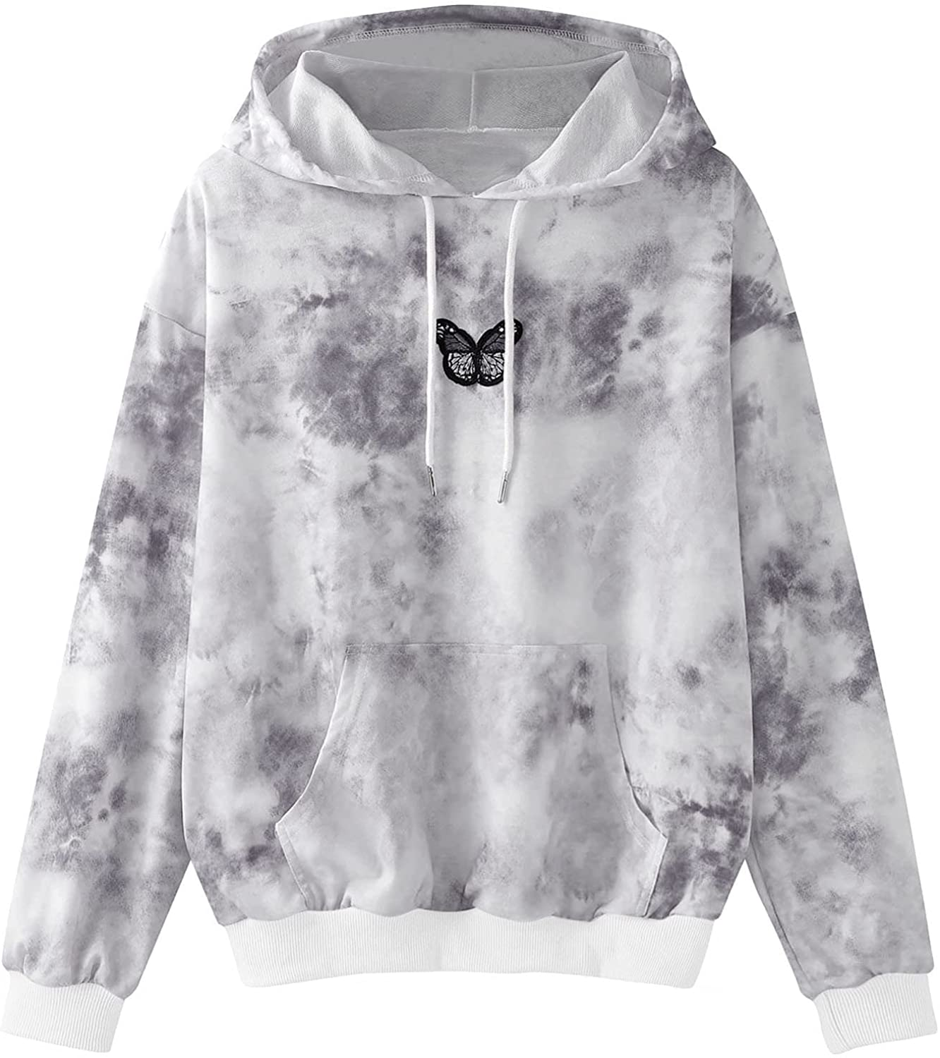 Toeava Tie Dye Hoodies Sweatshirt for Women,Women's Butterfly Embroidery Long Sleeve Pullover Tops Shirts with Pocket