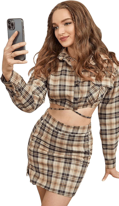 SweatyRocks Women's Long Sleeve Button Down Criss Cross Plaid Crop Blouse Shirt Top
