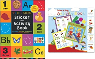 """Activity Books for Kids: """"First Steps"""" Sticker & Learn-Play Activity Book (Paper Craft, 2 pack)"""