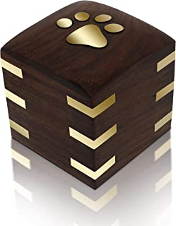"""Royal Matter Rosewood Wooden Pet Urn for Dogs or Cats with Brass Paws and Brass Corners (Tiny Box 1.5 cu. in. 2""""x 2""""x 2.25"""")"""