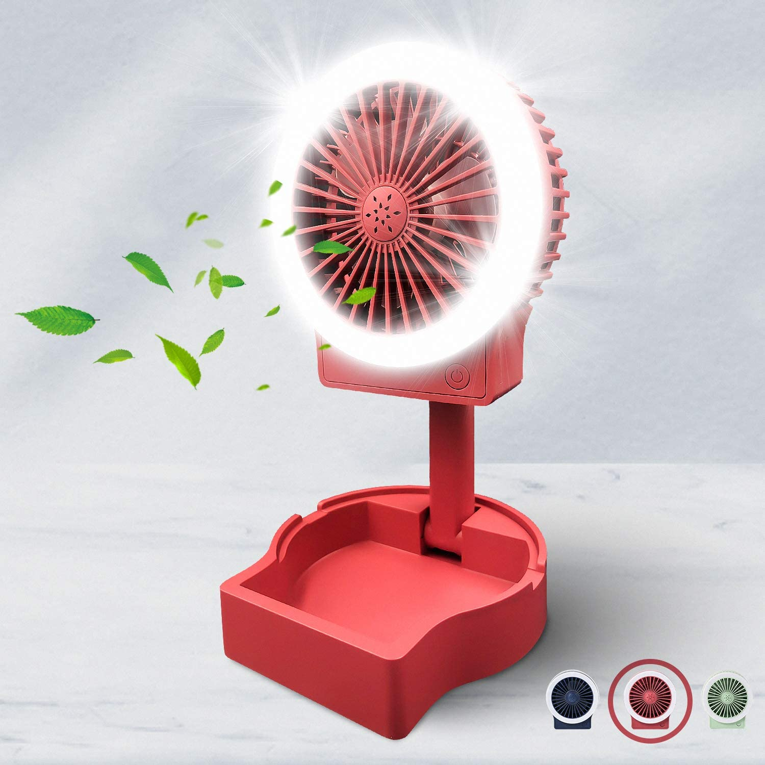 Ranking integrated 1st place Desk Small Fan with Fill Light Rechargeable 2 3 Bri USB Time sale Speeds