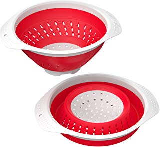 Vremi 5 Quart Collapsible Colander - BPA Free Silicone Food Strainer with Plastic Handles - Heavy Duty Foldable Heat Resistant Pasta and Veggies Kitchen Drainer Steam Basket - Dishwasher Safe - Red