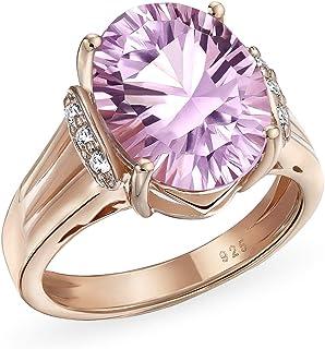 4.47CT Zircon Accented Oval Statement Pink Ametista Anello per donne Rosa Oro Placcato Argento Argento Febbraio Birthstone