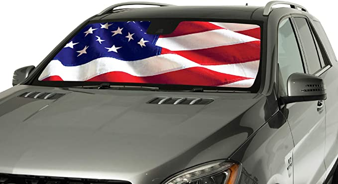 USA Flag Rolling Custom Fit Sun Shade for Lexus Heat Wind shield Screen