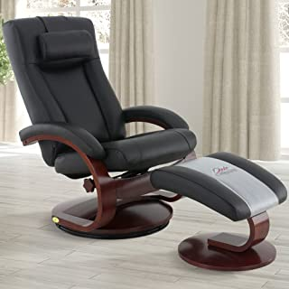 Comfort Chair Company Oslo Collection by Mac Motion Hamar Recliner and Ottoman in Black Top Grain Leather