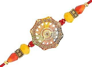 Rakhi - Rakhi for Brother - Raksha Bandhan Gift - Handmade Rakhi for Bhaiya Bhabhi - Floral Design with Faux Studded Stones - Multicolor Designer Thread Bracelet - Fancy Beads - Best Modern Rakhi