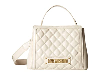 LOVE Moschino Shiny Quilted Handbag (Ivory) Handbags