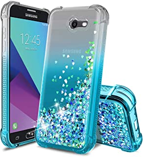 Samsung Galaxy J3 2017 Case,Galaxy J3 Emerge/J3 Prime/J3 Eclipse/J3 Mission/Express Prime 2/J3 Luna Pro/Amp Prime 2/Sol 2 Phone Case,TPU Glitter Quicksand Protective Phone Cover for Girls Women-Teal