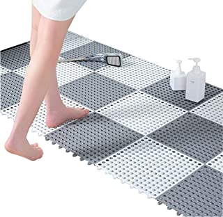 24pcs Interlocking Rubber Floor Tiles DIY Size Non-Slip Splicing Multi-Use Soft Mat with Massage Drain Holes Gray