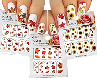 Autumn Leaves Nail Art Water Slide Tattoo Sticker:::Crimson Leaves And Flowers: Maple / Rowan / Hawthorn / Sunflower- 3 Pack